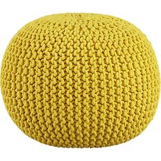 knitted yellow pouf in view all pillows/throws | CB2thinking of getting this for the home.