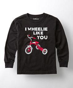 Black 'I Wheelie Like You' Tee - Toddler & Kids #zulily #zulilyfinds