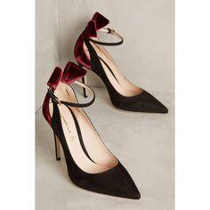 Deimille Paul Ankle Strap Stilettos ($398) ❤ liked on Polyvore featuring shoes, pumps, black motif, bow pumps, stiletto shoes, black ankle strap pumps, ankle strap stilettos and black pumps