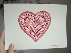 Heart of hearts  Original ink drawing deep red wall by ucjohnstone, €45.00