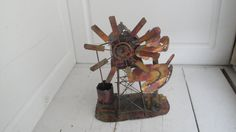 Vintage Copper Music Box Wind Mill Plays Wind Mills of my Mind