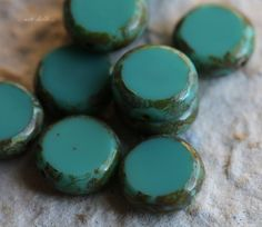 SLICED TEAL No. 2 .. NEW 10 Picasso Czech Glass Coin Beads 10mm (5544-10) by ArteBellaSurplus on Etsy