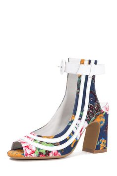 Jeffrey Campbell Shoes ASANTE Shop All in Navy Floral White Combo