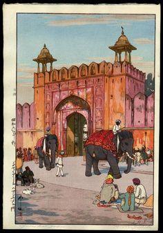Ajmer Gate, Jaipur, Yoshida Hiroshi, 1931