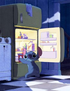 Lilo & Stich raiding the fridge at night. Disney Films, Disney And Dreamworks, Disney Pixar, Cute Disney Wallpaper, Cute Cartoon Wallpapers, Funny Iphone Wallpaper, Disney Magic, Disney Art, Dark Disney