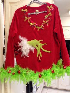 Grinch Ugly Christmas sweater Nicole Weekley Art & Soul check out all my designs. I take orders and ship! Diy Ugly Christmas Sweater, Ugly Sweater Party, Xmas Sweaters, Ugly Sweaters Diy, Grinch Christmas Party, Christmas Diy, Christmas 2017, Grinch Halloween, Grinch Party