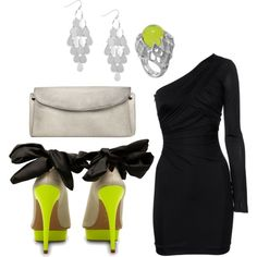 Citron & Black, created by nicolecopp on Polyvore. Love the black and white, not the yellow so much