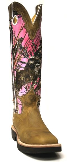 Women's Justin boots -- Pink true timber with snake guard and rugged tan gaucho collar. Nothin' like camo cowboy boots. | southtexastack.com