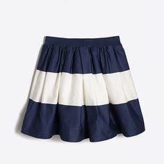 J.Crew+Factory+-+Girls'+wide-stripe+sateen+skirt