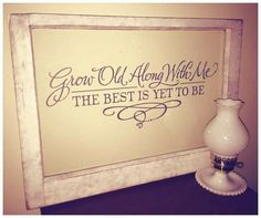 """Vintage Farmhouse Decor The Farmhouse Decor Co.: Annie Sloan Chalk Paint on vintage single pane window with dark grey decal. """"grow old along with me, the best is yet to be"""" - Antique Windows, Vintage Windows, Old Windows, Vinyl Windows, Old Window Frames, Window Art, Window Ideas, Painted Window Panes, Window Pane Decor"""