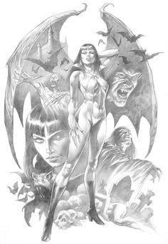 In Trash We Trust — Vampirella by Alex Horley Horror Comics, Horror Art, Art Vampire, Art Sketches, Art Drawings, Art Du Croquis, Arte Dc Comics, Arte Obscura, Geniale Tattoos