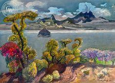 Lake Chapala, Mexico, 1983, California art by Millard Sheets. HD giclee art prints for sale at CaliforniaWatercolor.com - original California paintings, & premium giclee prints for sale