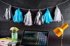 How to make a crepe paper garland Hawaiian Party Decorations, Diy Birthday Decorations, Paper Decorations, Diy And Crafts, Paper Crafts, Christmas Window Decorations, Diy Garland, Decorate Your Room, Baby Boy Shower