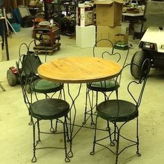 Antique Ice Cream Parlor Table & 4 Chairs