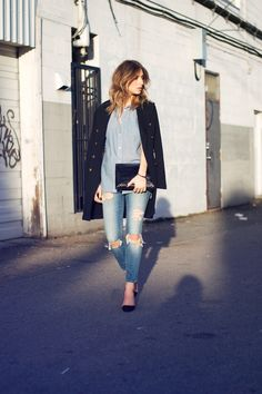 Denim on denim with black nautical coat and pumps #streetstyle #denimandsupplyralphlauren #ombrehair