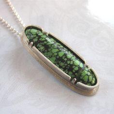 Slender Green Turquoise Pendant Necklace by tkmetalarts on Etsy