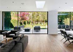 Aluminium sliding patio doors that are designed to use minimal frame thickness.