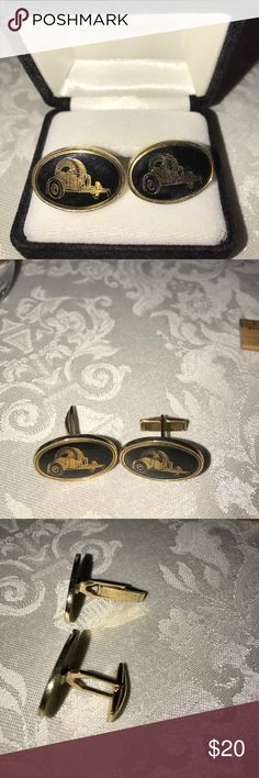 MEN. French Cuff Links for men Vintage Black on Gold....no markings but they are at least from the 1940's. Jewelry