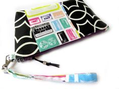 Cotton-Lined Wristlet Bag (Medium) - Retro Cassette Music Tapes  // Travel Bag // Wristlet Purse // Project Bag // Makeup Bag // Clutch Bag