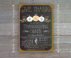 Thanksgiving Invitation Fall Party Invitation by SilhouetteDesign