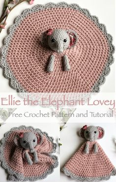 A free crochet pattern of an elephant lovey. Do you also want to crochet this lovey? Read more about the Free Crochet Pattern Elephant Lovey Ellie. Beau Crochet, Baby Blanket Crochet, Crochet For Kids, Free Crochet, Knit Crochet, Crochet Lovey Free Pattern, Crochet Baby Stuff, Crochet Security Blanket, Lovey Blanket