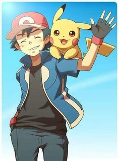 Ash Ketchum and Pikachu from Pokémon. ( Looks like the XY series.... )