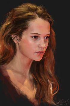 A portrait of Alicia Vikander Oil Portrait, Digital Portrait, Woman Painting, Figure Painting, Character Portraits, Character Art, Pastel Portraits, Face Art, Figurative Art