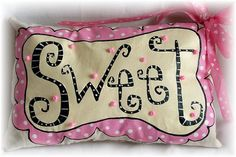 Valentine Pillow Hand Painted by Boutique Whimsy