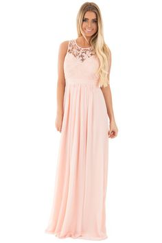 Pink Woven Maxi Dress with Crochet Bodice-front