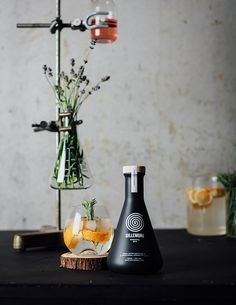 This New Gin Comes In A Matte Black Laboratory Flask // Skinn Branding Agency worked together with Louis Gillemon to design the visual concept and brand for Gillemore, a new premium gin that has just been launched by the 19 year old entrepreneur.