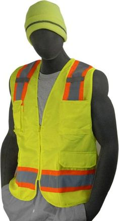 Majestic 75-3223 Hi Vis Yellow Surveyor's Safety Vest ANSI Class 2 Mesh Back