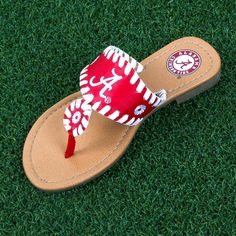 Crimson and white whipstitched sandals with the team logo on the top of the sandal !