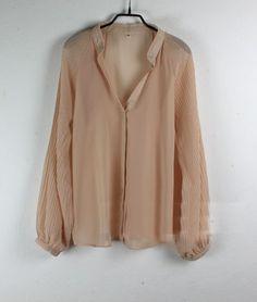 Nude Balloon Sleeve V-neck Chiffon Sheer Shirt  $32