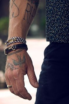 Notice that one of the bracelets is a tatoo. Love the swallow tatoo also . Sharp Dressed Man, Well Dressed, Bracelets For Men, Fashion Bracelets, Wrap Bracelets, Bangles, Male Clothes, Fashion Mode, Mens Fashion
