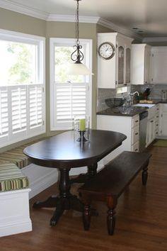 Cottage Kitchen by Valerie Pedersen traditional kitchen - Café plantation shutters, subway tile, white cabinetry