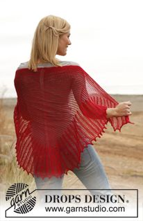 Knitted DROPS shawl with lace pattern in Lace. ~ DROPS Design free
