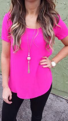BP Fashion: Hot Pink, Gold and Black Hot Pink Blouses, Hot Pink Tops, Hot Pink Shirts, Pink Outfits, Casual Outfits, Cute Outfits, Pink Fashion, Fashion Outfits, Fashion Fashion