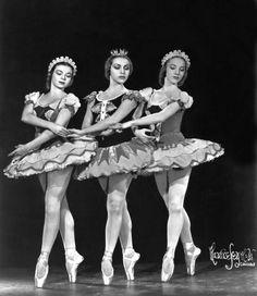 С Полин Годар(слева)и Ивонн Шуто Русский балет Монте Карло 1946