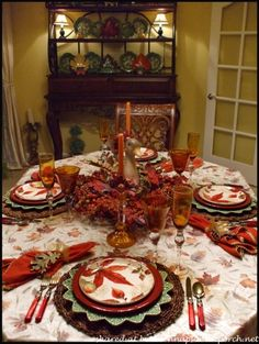Fall Table Setting with Fall Leaves Dishware