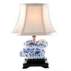 Small Blue-White Bunny Rabbit Porcelain Lamp
