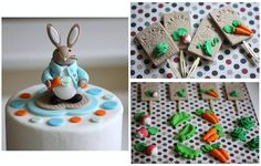 Over 60 Pieces Party Package Whimsical Peter Rabbit Vegetable Garden-Themed Cake and Cupcake Topper Set. $74.99, via Etsy.