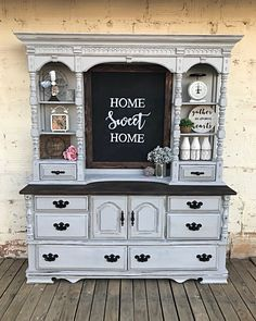Farmhouse hutch chalkboard backer walnut frame chalky paint distressed matte sealed updated hardware home Sweet home Chalk Paint Furniture, Furniture Projects, Diy Furniture, Refurbished Hutch, Refurbished Furniture, Hutch Makeover, Furniture Makeover, Hutch Redo, Distressed Furniture