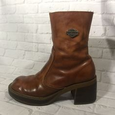 HARLEY DAVIDSON MOTOR CYCLES Light Brown Leather Boots Side Zip Womens 6 1/2 6.5    eBay