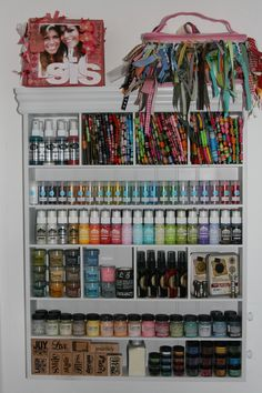 Paint, glitter, ribbon and ink storage, by Nancy Nolan