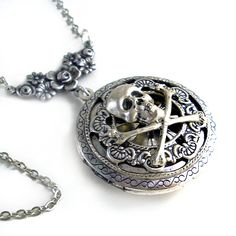 Pirates:  #Pirate Plunder ~ Round Silver Scent Locket.