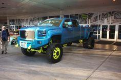 Paint professionals, tool manufacturers, and gadget makers of all kinds occupy many SEMA 2015 booths in the North Hall, eager to show their custom-truck wares. Custom Trucks, Custom Cars, Sema 2015, Gadget, Chevrolet, Monster Trucks, Paint, Outdoor, Pictures