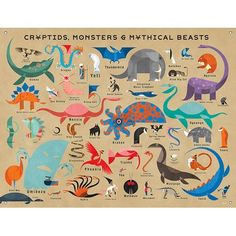 Draw Creatures Oopsy Daisy Cryptids, Monsters and Mythical Beasts by Daviz Canvas Art Size: H x W - Alien Creatures, Magical Creatures, Fantasy Creatures, The Beast, Baby Wall Art, Canvas Wall Art, Wall Mural, Phoenix, Mythological Creatures