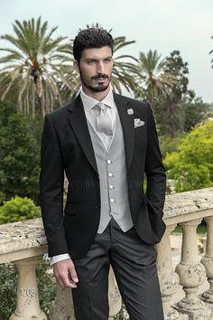 Abito sposo con giacca in raso lana nero