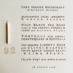 Cynthia Warren's hand lettered birthday menu.