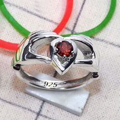 Handmade Ring, Semi precious Ring, Garnet Rig Jewelry, Heart Shape Ring, Round Cut Stone, Sterling Silver Ring, Prong Set Ring, Special Gift